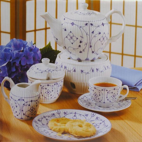 teeservice indisch blau 22 tlg ebay. Black Bedroom Furniture Sets. Home Design Ideas